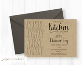 Kitchen Bridal Shower Invitation - Stock the Kitchen - Recipe Card - Couples Shower - Kraft Paper - Rustic Shower Invite - Printable Invite