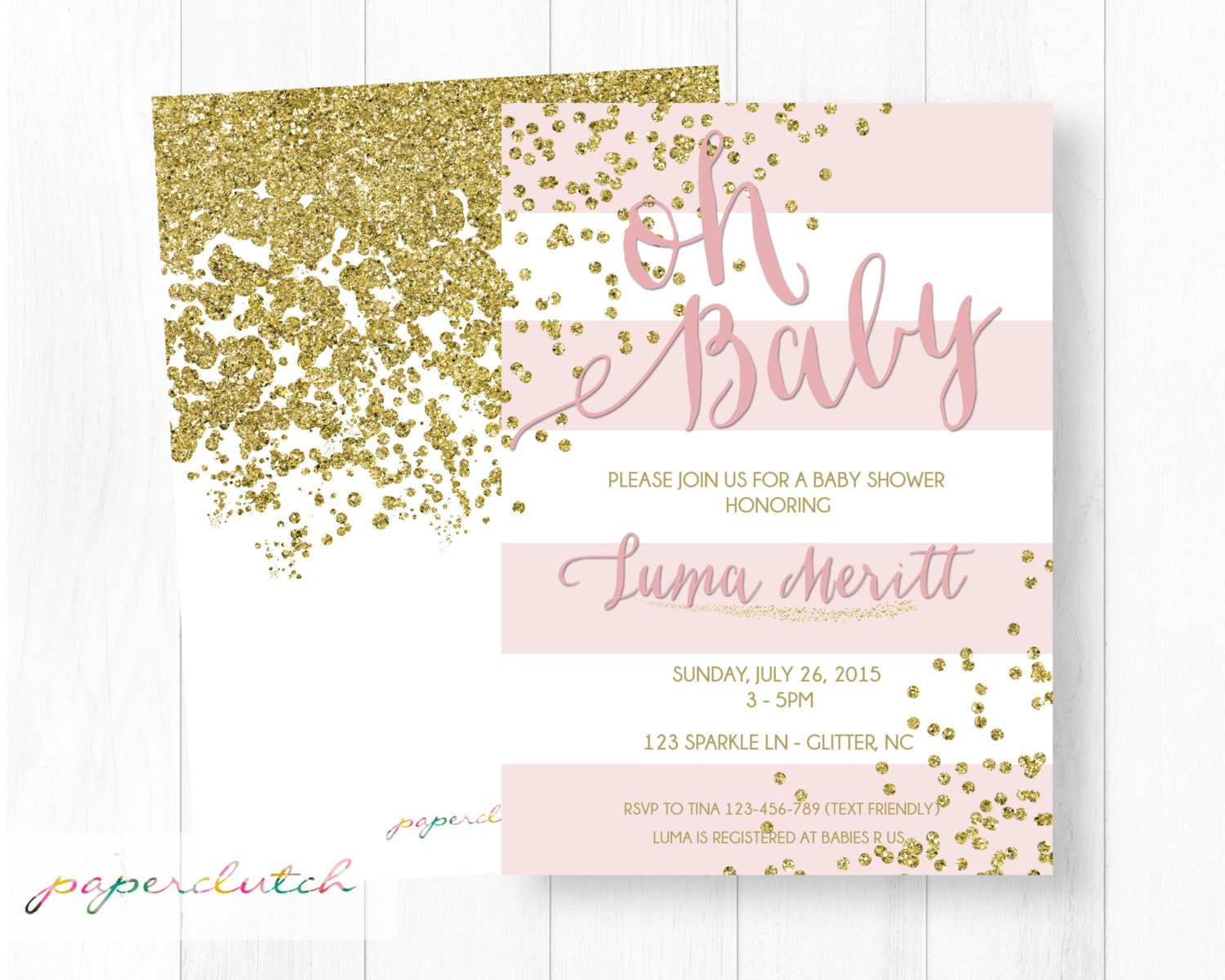 pink gold glitter baby shower invitation blush pink girl