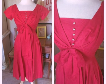 Vintage 1950s Dress red rhinestones day pinup 50s XS S rockabilly mint