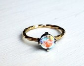 Prism Topaz Two Toned Ring- Black Silver Prongs on 14k GF Twisted Band