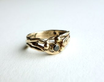 14k Yellow Gold Nest Ring with Black Diamond