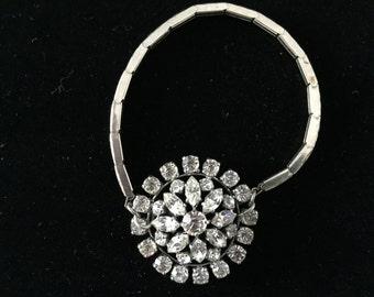 SALE--One of a kind repurposed vintage rhinestone stretch band bracelet