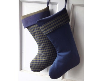 Houndstooth Silk Christmas Stocking Navy Blue with Olive Green - Ready to Ship Heirloom Holiday Decor