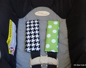 Cute Black Houndstooth and Green Dot Reversible Car Seat Strap Covers