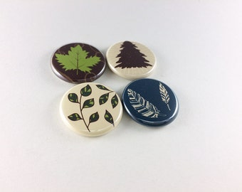 4 Retro Leaves, Tree and Feather, tree magnet, feather magnet, cute fridge magnets, wine charms, refrigerator magnets, brown, green,  1265