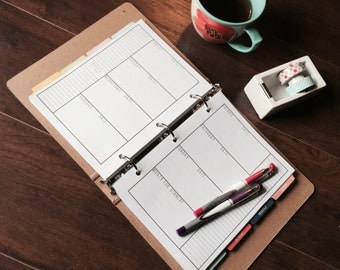 NEW LAYOUT!  Weekly Everyday Horizontal Planner Refill Pages - Start Any Month, Ready To Ship!
