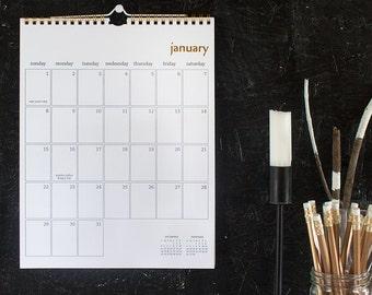 2017 simple gold wall calendar