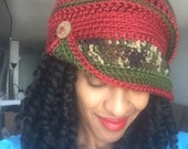 Funky Fall Cloche - Ready to Wear - Red, Green and Camo