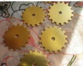 ON SALE Solid Sprockets Gear or Cog Charms Brass Stamp Blanks 20mm 6 Pcs