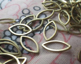 Brass Navette or Eye-Shaped Closed Jump Ring 12x6mm 50 Pcs