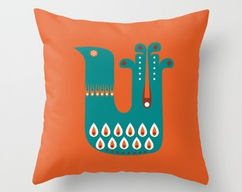 Mid Century Illustrated Bird No. 7 Throw Pillow