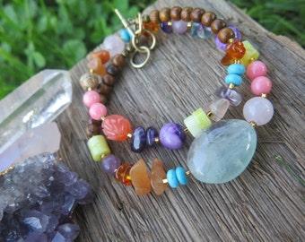 Sale - Double Wrap Stone Bracelet - Girly Colorful Rainbow Jewelry - Tiny  Coral Pink Purple - Crystal Gypsy Bohemian - Multi Strand Boho