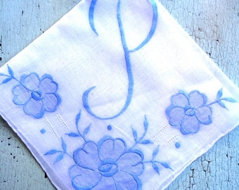 Embroidered Vintage Hankie Monogrammed P
