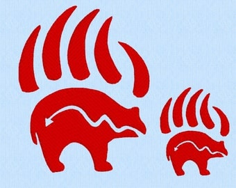 Bear and Claws Tribal Tattoo - 2 sizes - machine embroidery design file