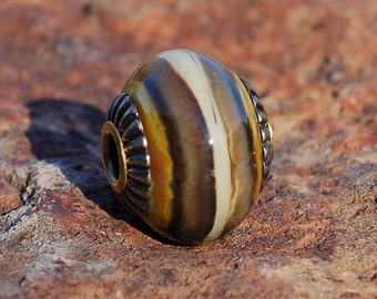 Rustic Raku Ombre -  Cored 'n Capped K O Lampwork European Style Charm Bead - Focal