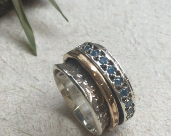 Spinners ring, Wide Silver band, Blue topaz ring, gold silver ring, boho spinning ring, wide wedding band  - Edge of the World R1209G-2