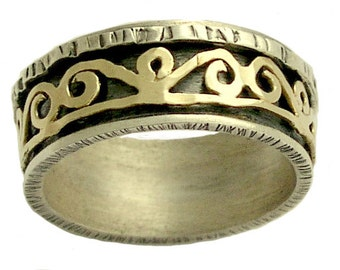 Mens wedding band, Gold spinner ring, unisex ring, rustic ring, meditation ring, two-tone wedding ring, spinning ring - Love games R1362
