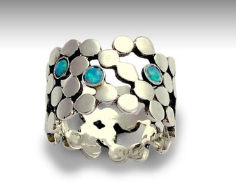 Silver ring, dot ring, boho chic jewelry, opal ring, gemstones ring, wide band, wide silver ring, ring with stones - Yet to discover R1529