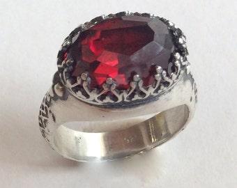 Silver Ring, Gemstone ring, Garnet Ring, Red Stone Ring, crown Ring, boho Ring, oxidized silver ring, engagement ring - I believe. R2052