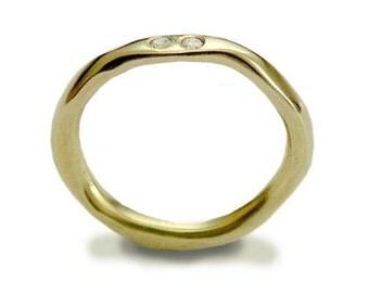 Diamonds ring, engagement ring, Solid yellow gold ring, stacking ring, diamond engagement ring, 14K ring, wedding band - Ensemble RG1593X