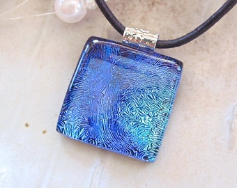 Purple Necklace, Blue, Dichroic Glass Pendant, Fused Glass Jewelry, Necklace Included, A10