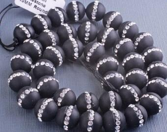 Black Onyx Beads, Rhinestone Set Black Onyx 10mm Gemstones, Jewelry Supplies, Round Black Onyx Beads