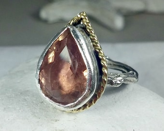 Tourmaline Statement Ring, Solitaire Ring, 18 kt yellow  gold , silver  and tourmaline ring, large gemstone ring