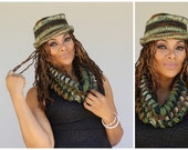 Crochet Camoflague Hat with Matching Puff Scarf - Ready to ship - Custom Colors available