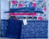 DIY BRA Kit FIRM Pink Blue Flowers & Blue by Merckwaerdigh