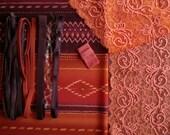DIY Fabric and notions Prune & Orange Ethnic Stripe for 1 BRA and BRIEF by Merckwaerdigh