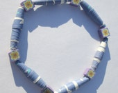 periwinkle paper beads and polymer clay flower design beads stretch bracelet affordable unique by Ziporgiabella