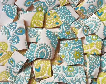 Mosaic Tiles--Mandala- Turquoise- 60 tiles