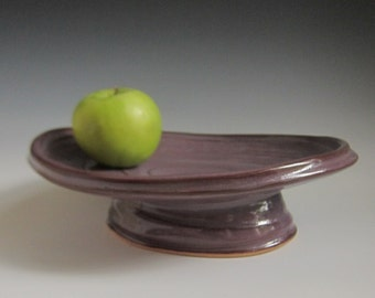 ON SALE 25% Off with Coupon code oval pedestal tray dish serving platter purple