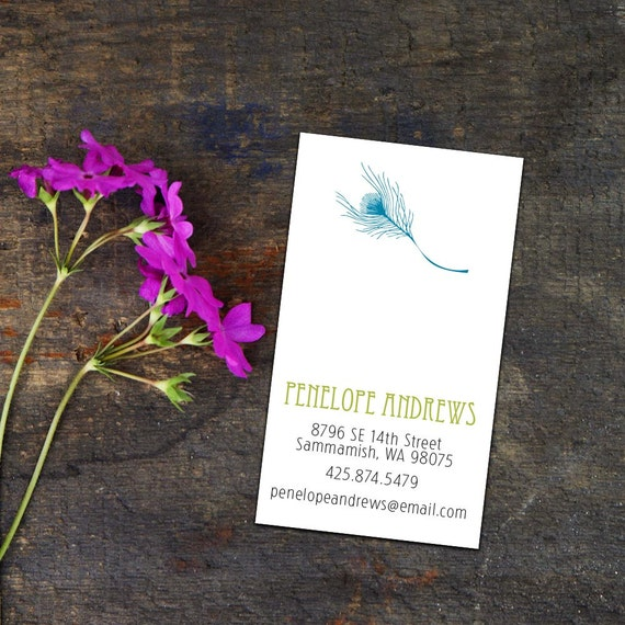 Fancy Feather Calling Card/Business Cards, Set of 50 or 100 Business Cards, Personal Calling Cards, Simple Elegant Peacock Calling Cards