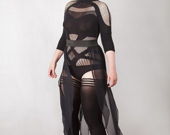 Chiffon Panels Floaty Goth Skirt, Fairy, Fae, Custom Size, Many colors available.