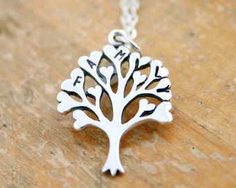 Family heart tree necklace with initials