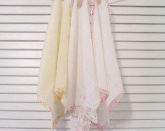 Three Vintage Hankies/ Handkerchiefs - Hankies With Crocheted Trim