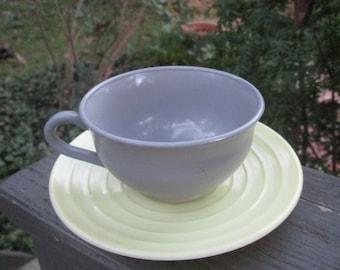Vintage Hazel Atlas Teacup and Saucer - Gray and Yellow