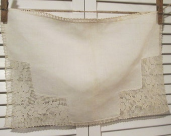 Linen Doily - Creamy White With Floral Filet Crochet