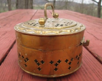 Vintage Round Brass Trinket Box - Punched Tin Jewelry Box - Small Hinged Memento Box