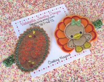 Hairclips Little Gobbler Thanksgiving Turkey gobble gobble fall Autumn glitter hairclip set of two 2 clips brown orange green