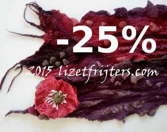 JANUARY SALE Maroon and Purple  Nuno Felted Scarf with Flower Winter Scarf Eco Fashion