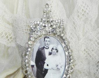 Vintage Jewel Clear Rhinestone Photo Picture Frame OOAK Elegant Perfect for Weddings Eisenberg Cluster