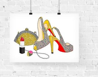 Glitter Girl Fashion Illustration Art Print