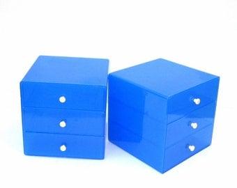 InterDesign 3 Drawer Storage Cubes Blue with White Knobs Inter Design USA 1980s Modern Jewelry Box