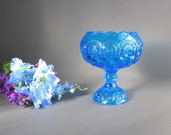 Large Vintage Blue Compote, Moon and Stars Bowl, Ivy Bowl, Blue Rose Bowl, Footed Bowl