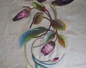 "Art Nouveau Wool Yarn Embroidery 27 x 36"" Orchid Bird Paradise Bromeliad"