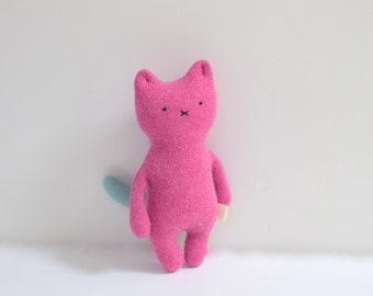 Stuffed pink Cat doll soft fabric doll handmade cat for baby upcycled pink aqua sweaters kids eco-friendly toddler toy bubynoa CAT & BUNNY