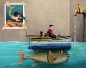 Anyfin Is Possible - Fisherman toy boat and Mermaid whimsical storyteller still life