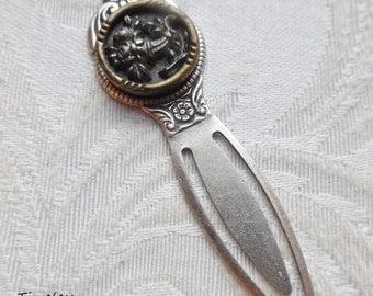 Bookmark- Antique Button- Lavender Roses